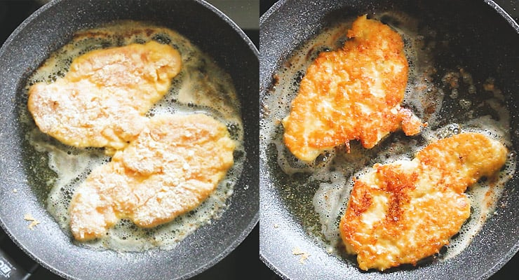 cook chicken in a pan with butter on all sides golden brown