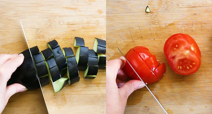cut egg plant and tomatoes into dices