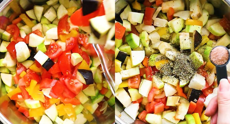 add cut vegetables to the pot and season with salt and spices