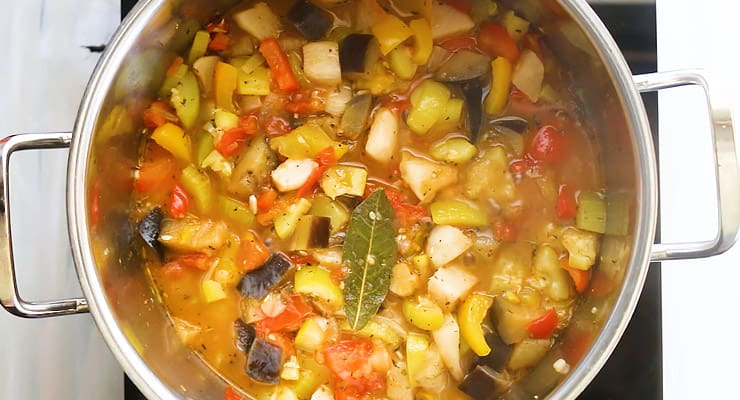 simmer ratatouille in a pot until cooked through