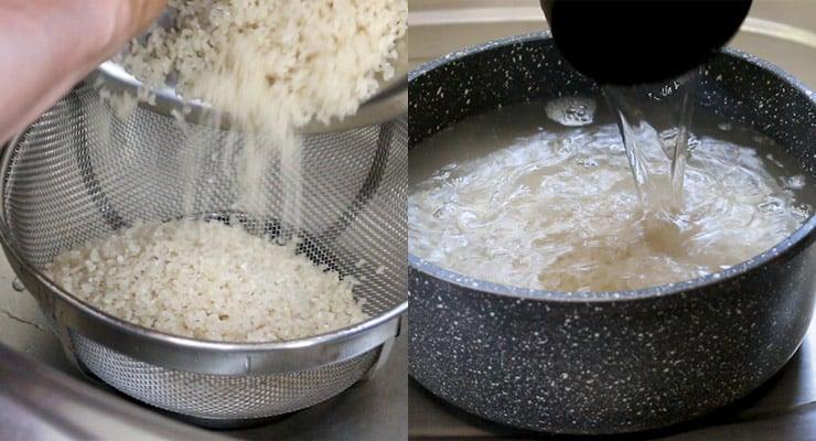 rinse sushi rice and keep to soak