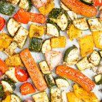 Mediterranean Sheet Pan Sausage and Veggies