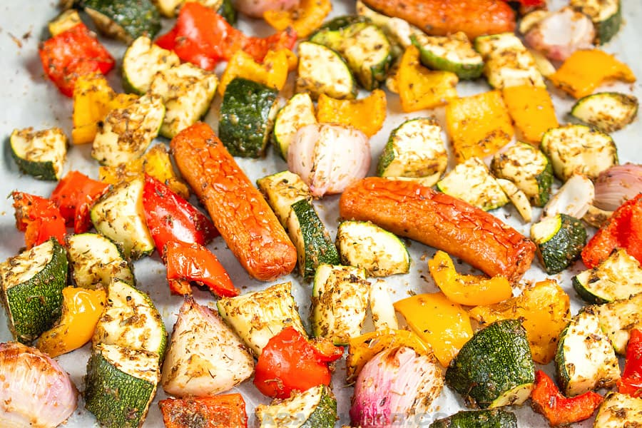 oven roasted sausage and veggies