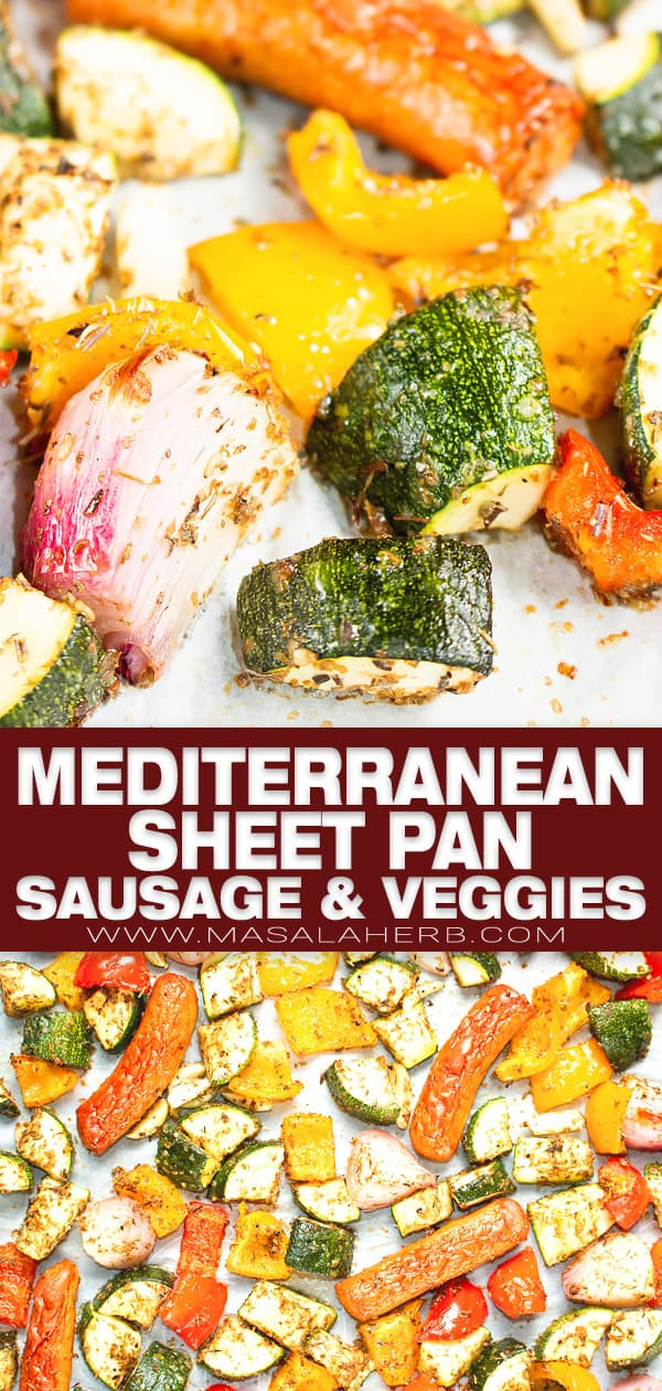 mediterranean sheet pan sausage and veggies pin