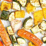 sheet pan veggies and sausage with Mediterranean flavors