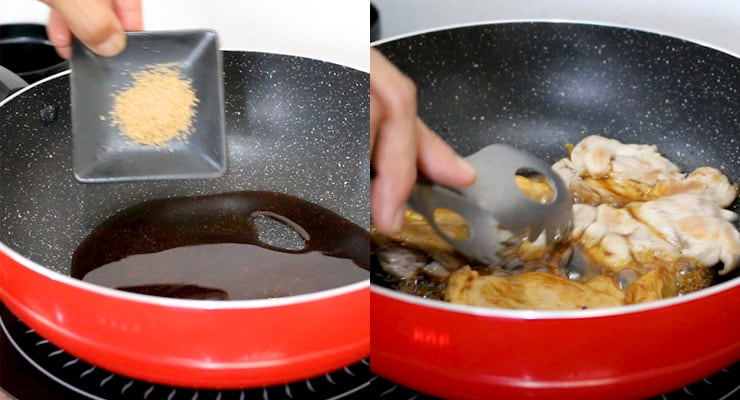 prepare teriyaki sauce and place chicken into sauce