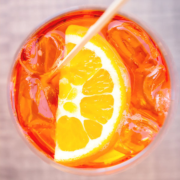 close up of aperol spritz