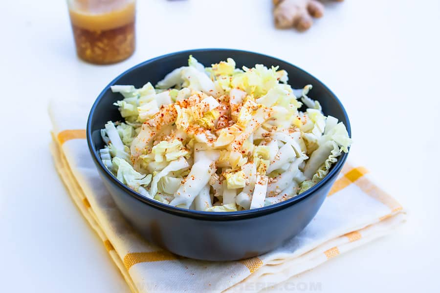 ginger dressing with chinese cabbage in a bowl