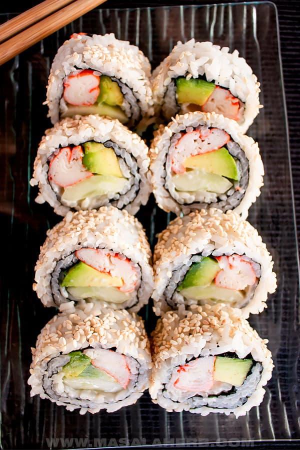 cut California sushi on a tray bird's eyes view