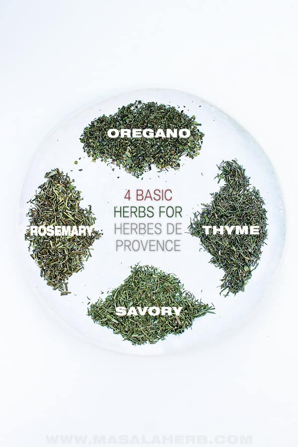 4 dried herbes, oregano, rosemary, thyme and savory