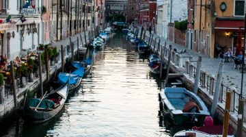 cannal and boats in the evening in venice