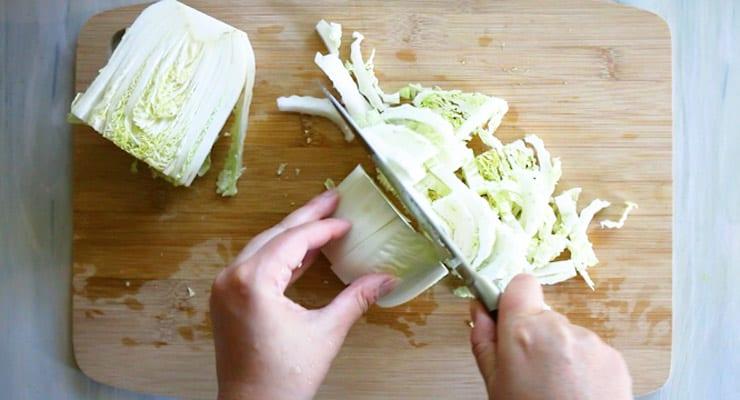 chop napa cabbage
