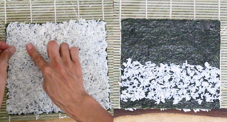 spread rice over nori