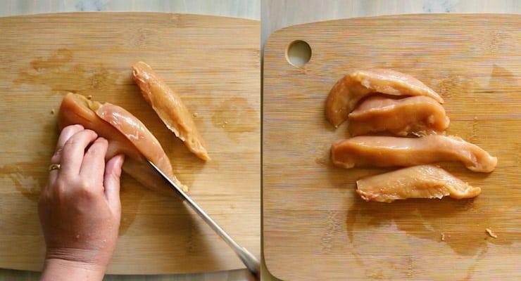 cut chicken breast tenderloin into tenders