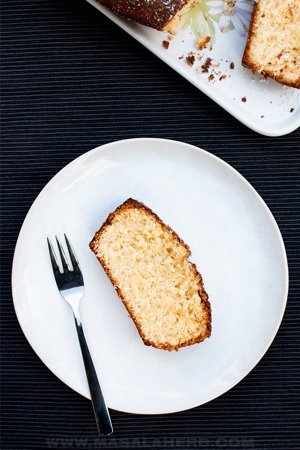 coconut cake slice on a plate