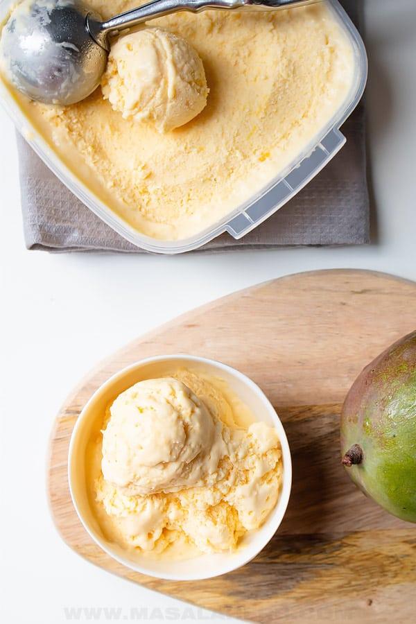 bird's eye's view of mango ice cream