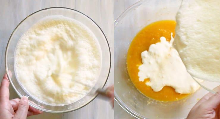 combine cream and milk and add cream base to mango pulp