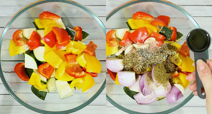 combine vegetables, seasoning and olive oil in a mixing bowl