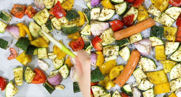 spread marinated veggies and sausages over the sheet pan
