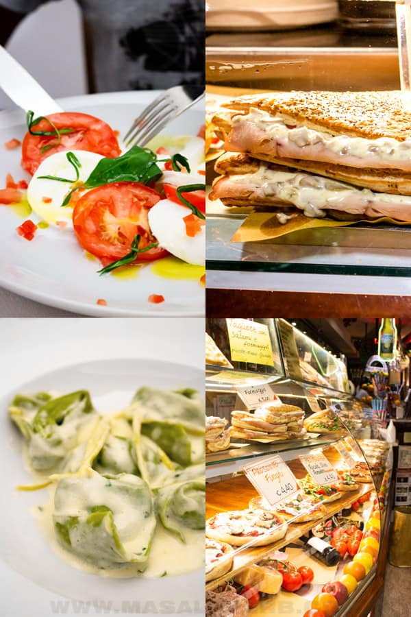 Caprese Salad, Puff Pastry stuffed sandwich, Cucciolo Bar Pasticceria, Lemon Ravioli at the Restaurant Cucciolo Bar Pasticceria,