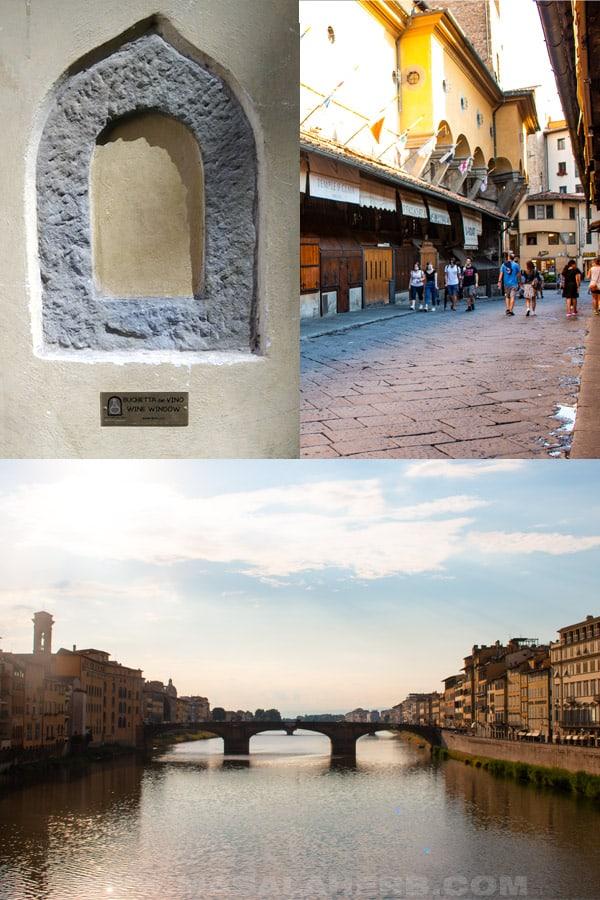 Wine window, walking over the Ponte Vecchio, St Trinity Bridge