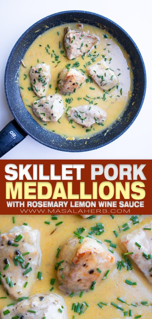 Pork Medallions in Lemon Wine Sauce Recipe pin mage