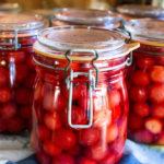 preserved cherries in jars