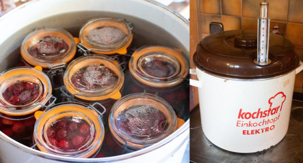 cover jars with water in canner pot