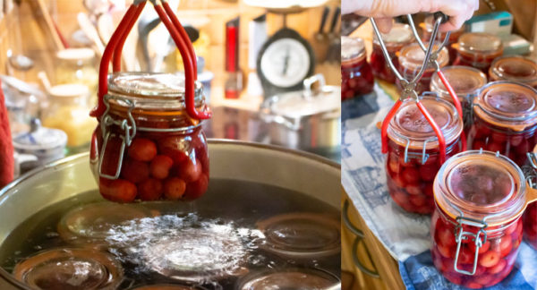 take out jars with cherries