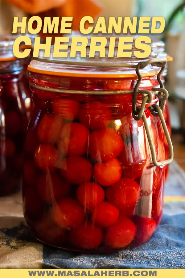 canned cherries in a jar