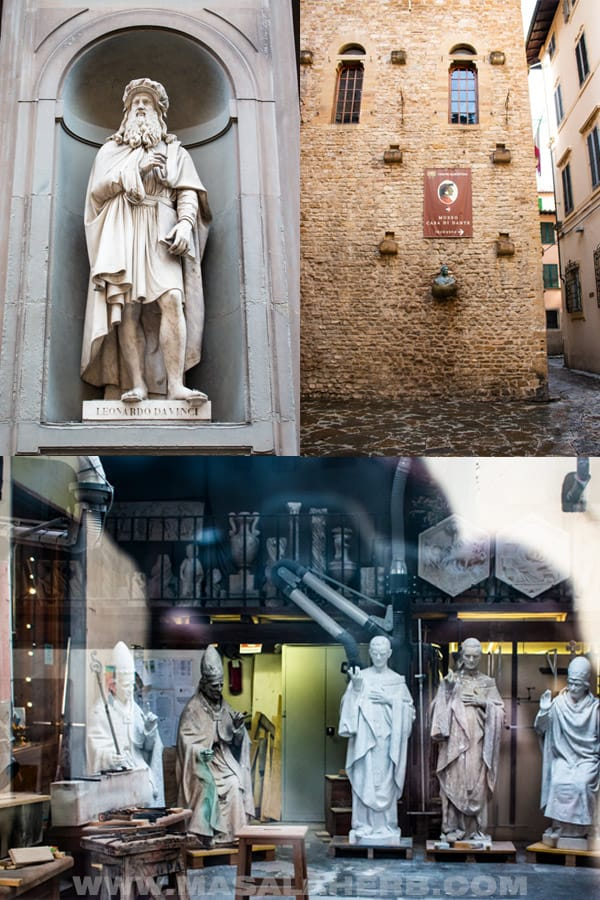Leonardo da vinci at the Uffizi museum, the house of Dante, a sculptors atelier.