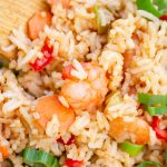 homemade shrimp fried rice prepared from scratch