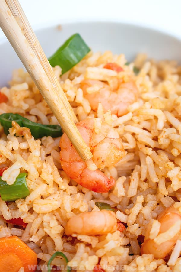 shrimp fried rice with fresh shrimps