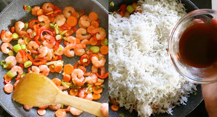 stir cook vegetables, shrimp and rice