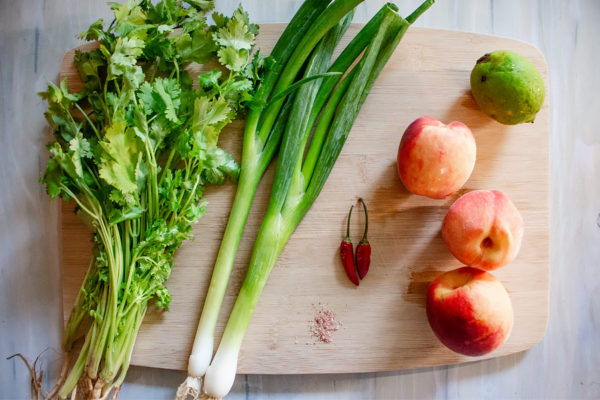 ingredients to make peach salsa