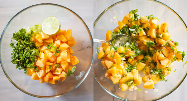 salsa ingredients in a bowl, combined peach salsa