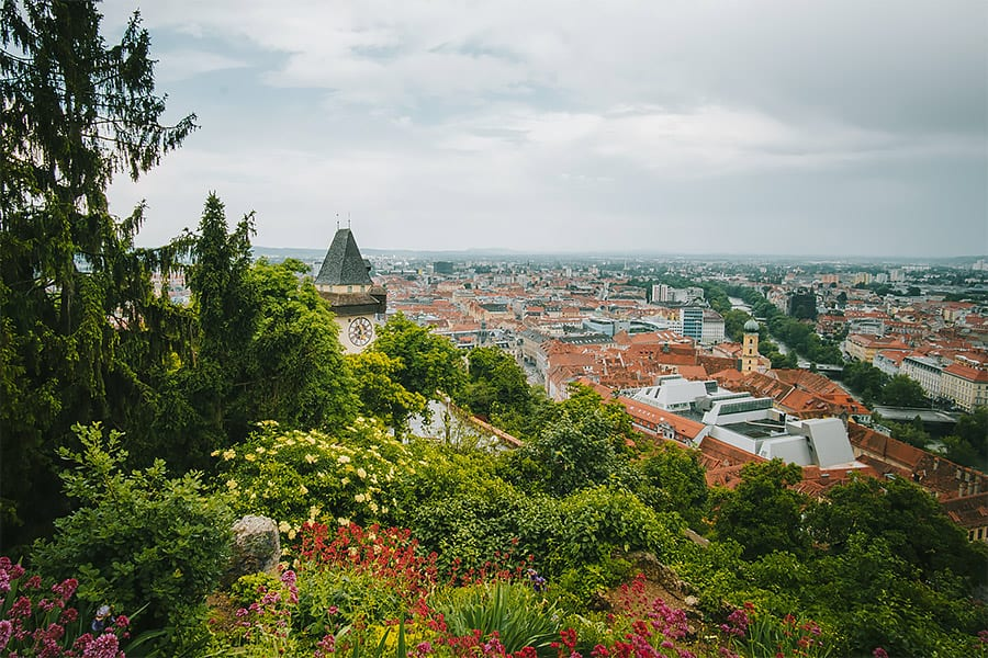 Graz city and the schlossberg