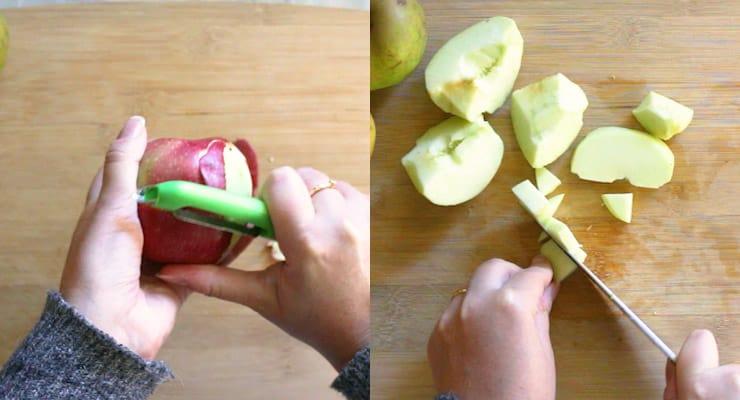 peel and cut apple