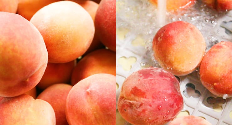 get fresh peaches and rinse them