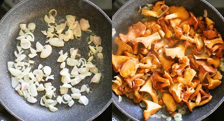 saute onion and chanterelle