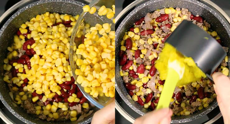 add corn, ground beef and beans to your chili