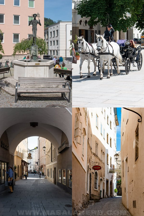 fiaker horse carriage, old city streets of salzburg, papageno statue from Mozart's play