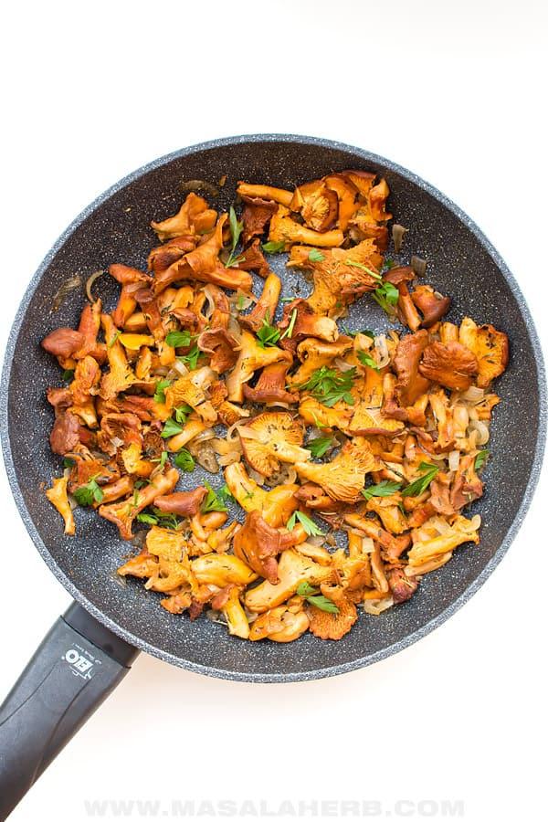 pan sauteed foraged chanterelle mushroom
