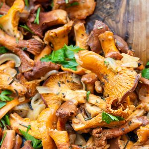 close uo chanterelle mushrooms in a pan