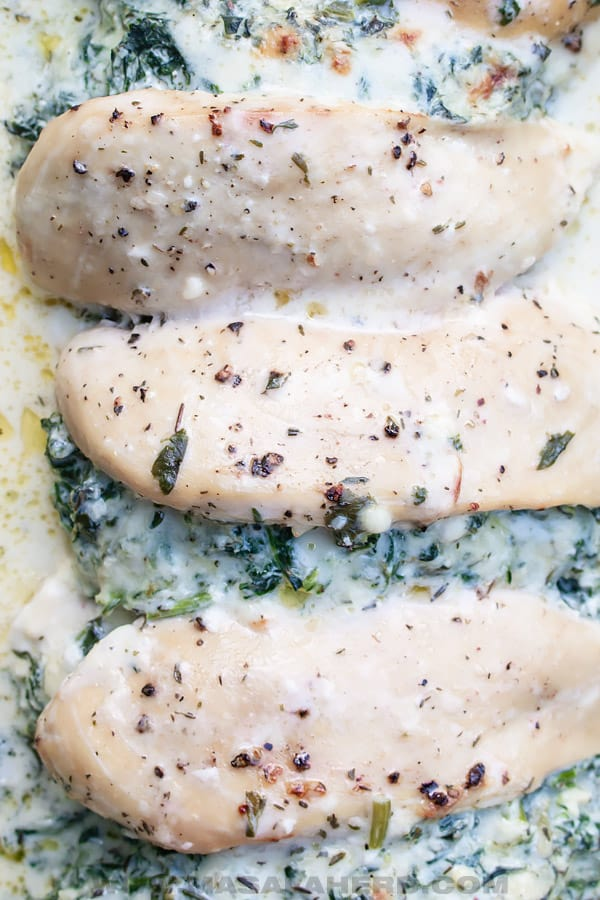 cream cheese spinach filling in chicken
