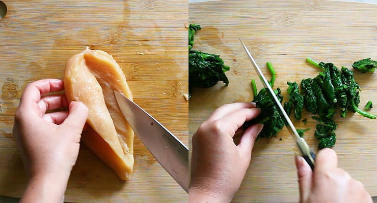 cut pocket into chicken breast and chop spinach