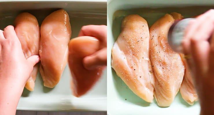 arrange chicken in baking dish and season
