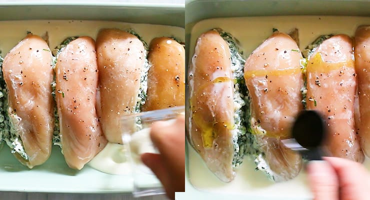 pour cream and olive oil into dish