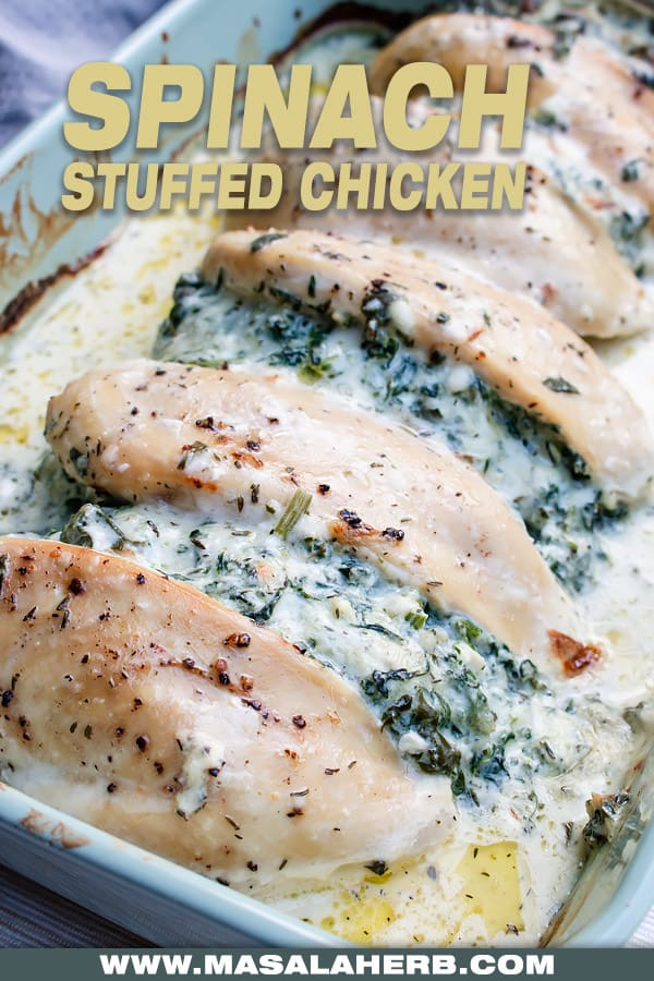 casserole dish with chicken stuffed spinach with cream cheese