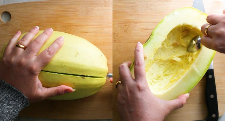cut and take out seeds from your spaghetti squash